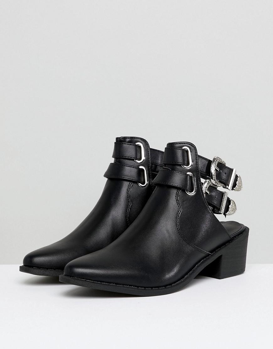 Truffle Collection Western Buckle Cutout Boot in Black