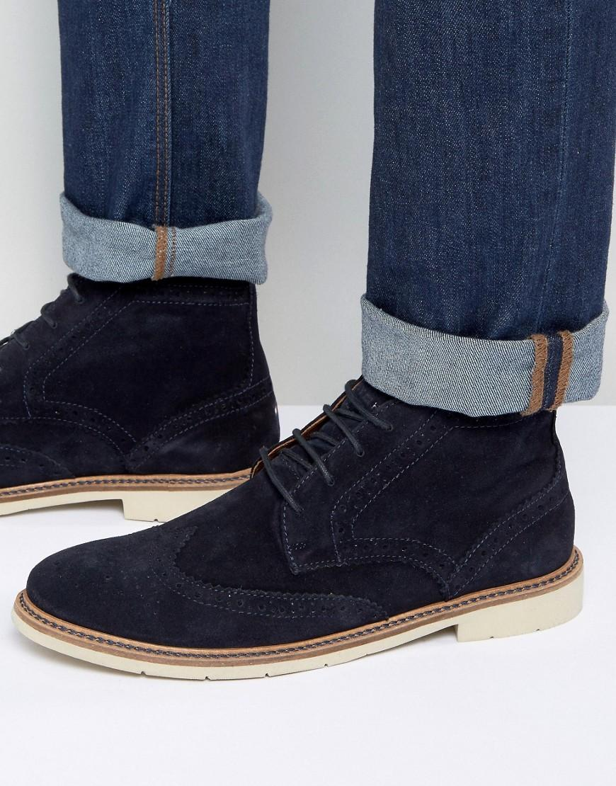 fea27e9f0 Lyst - Tommy Hilfiger Metro Suede Lace Up Brogue Boots in Blue for Men