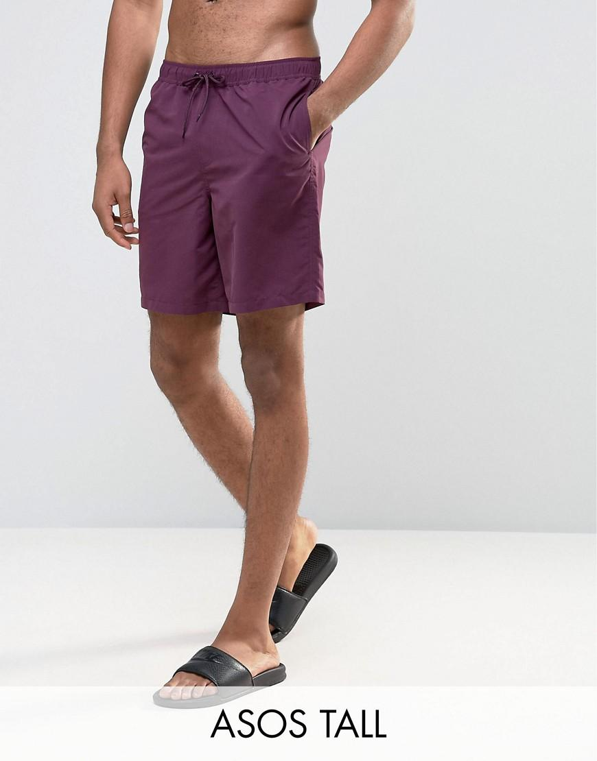 Asos swim shorts in purple mid length in purple for men lyst for Mens swim shirt big and tall
