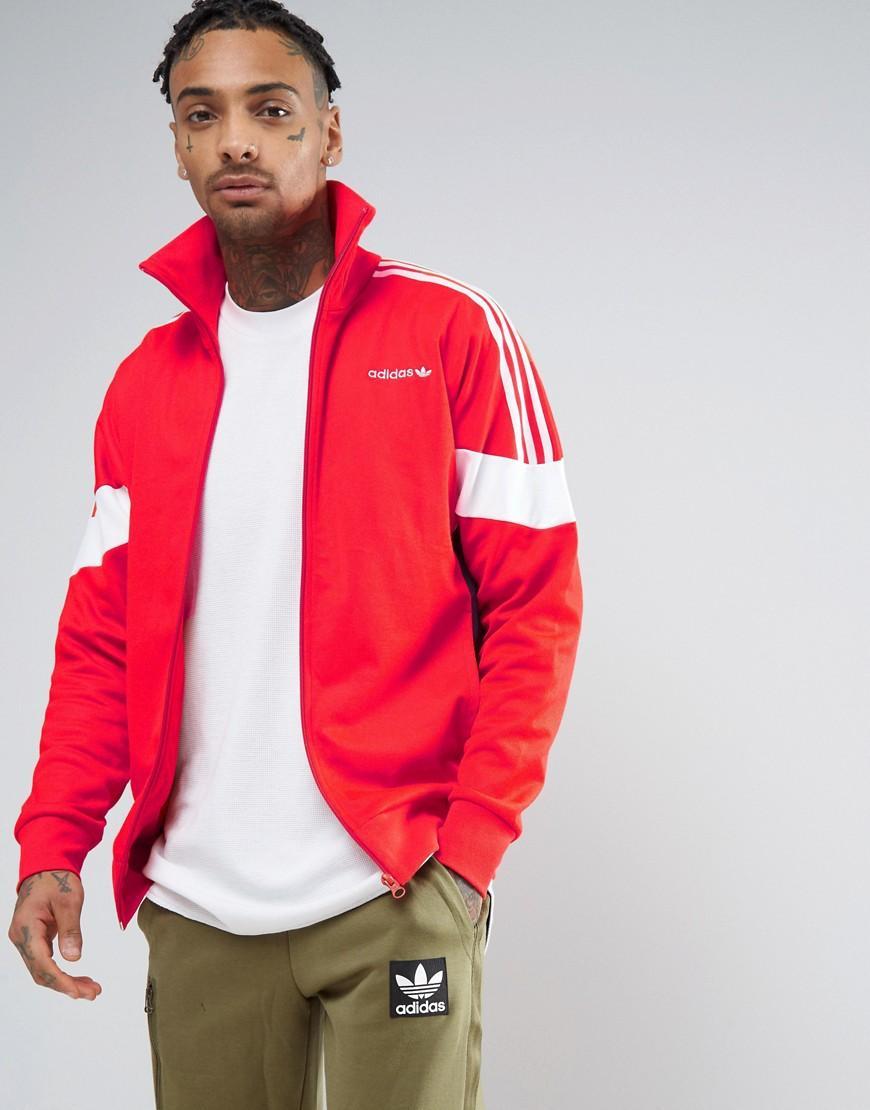 20c499195836 Lyst - adidas Originals Clr84 Track Jacket In Red Bk5913 in Red for Men