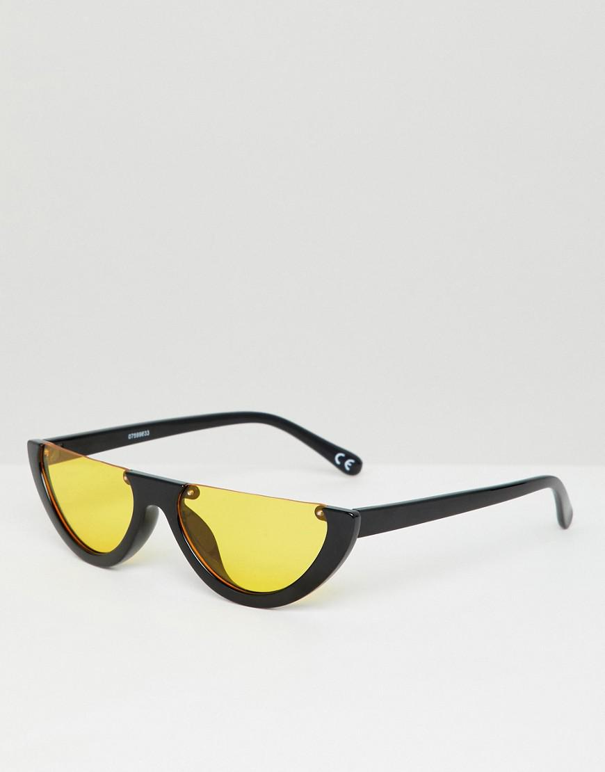 8cd4717046a ASOS Flat Brow Oval Sunglasses With Orange Lens in Black for Men - Lyst