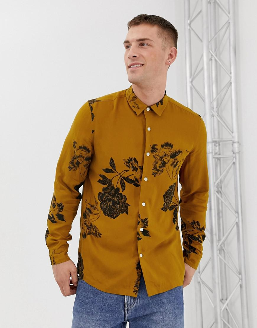 f13663b0462 ASOS Regular Fit Floral Shirt In Mustard in Yellow for Men - Lyst