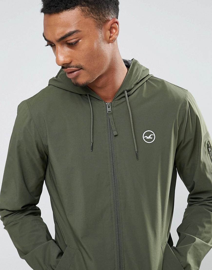 Hollister Synthetic Windbreaker Jacket Jersey Lined In Olive in Green for Men