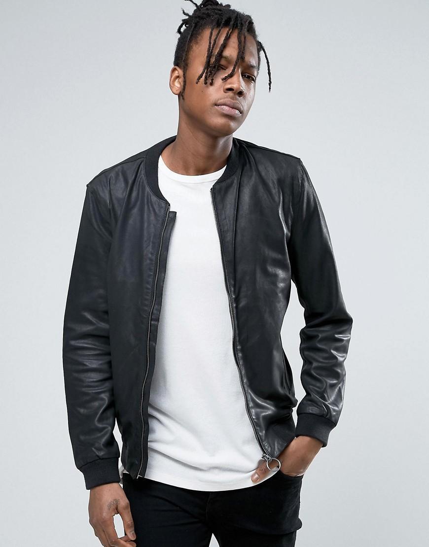 selected leather bomber jacket in black for men lyst. Black Bedroom Furniture Sets. Home Design Ideas