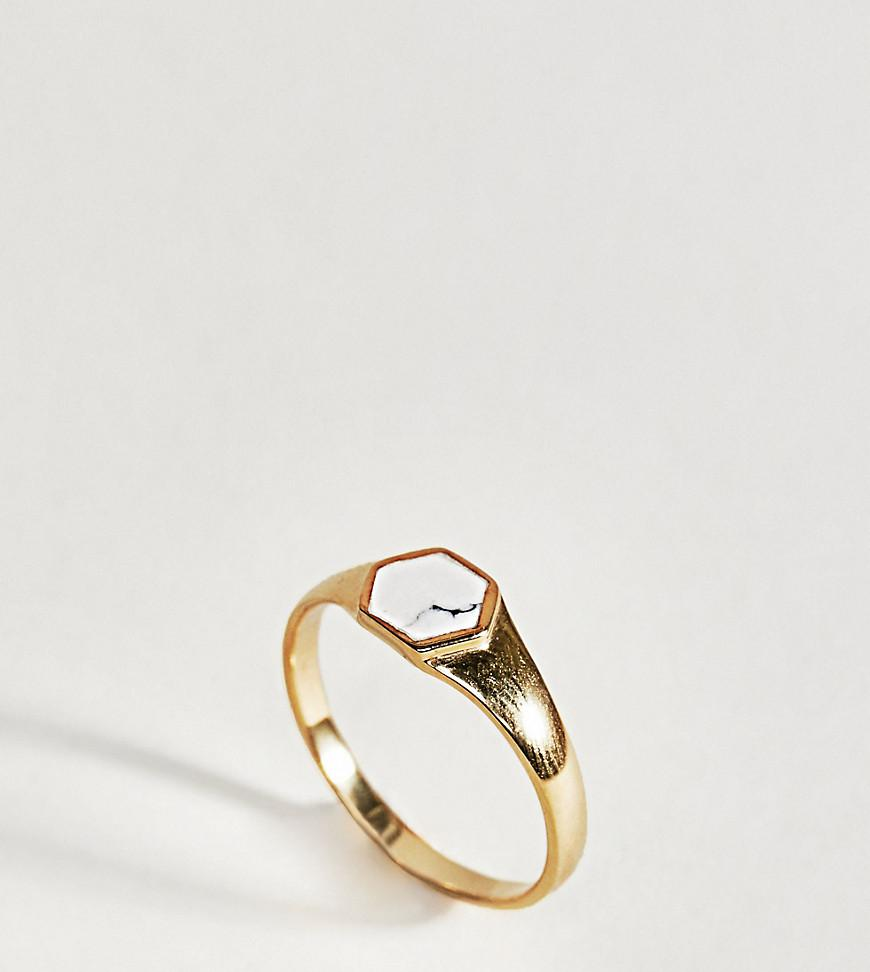 Asos DESIGN gold plated sterling silver sleek thick band ring - Gold GGUH7G