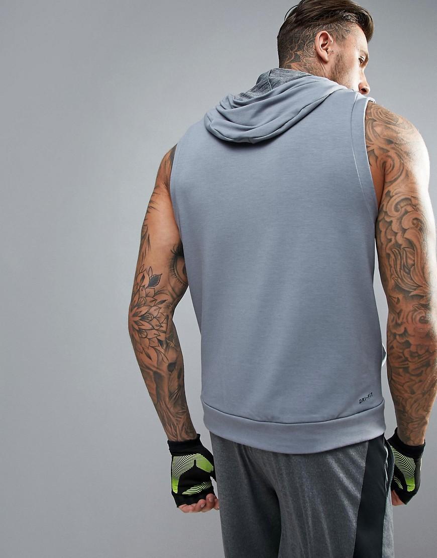 Nike Fleece Sleeveless Hoodie In Grey 742618-065 in Grey for Men