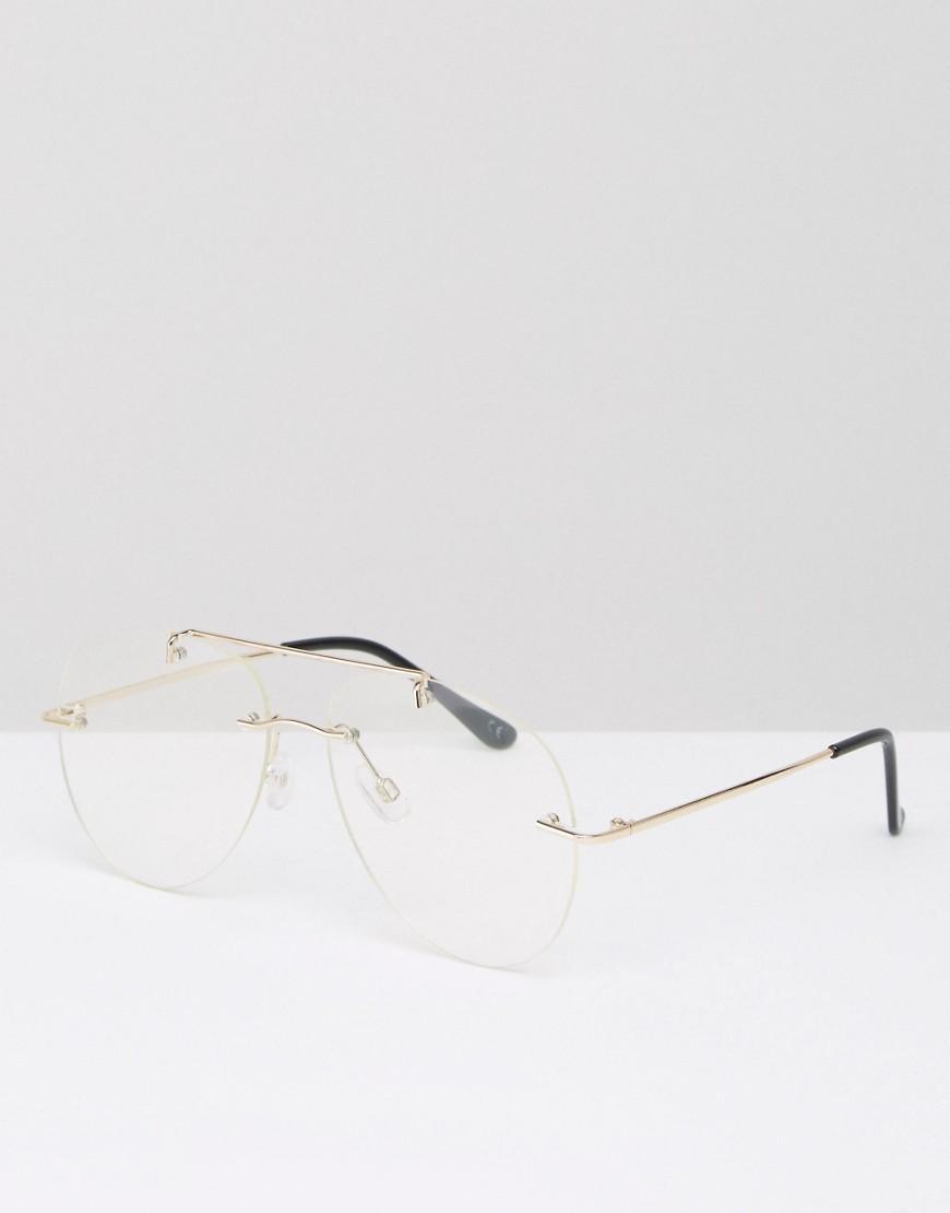 Rimless Geek Glasses : Asos Geeky Clear Lens Rimless Aviator Glasses in Metallic ...