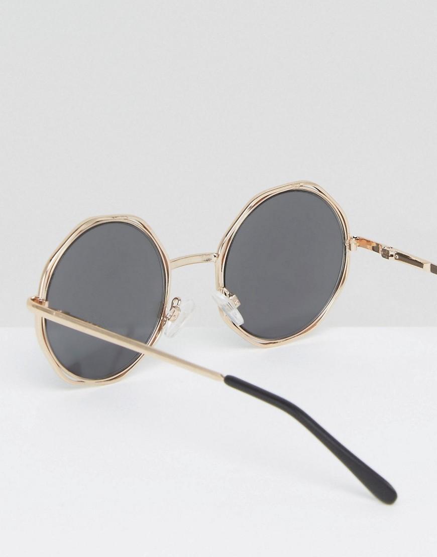 ASOS Denim Hexagon Round Sunglasses in Black