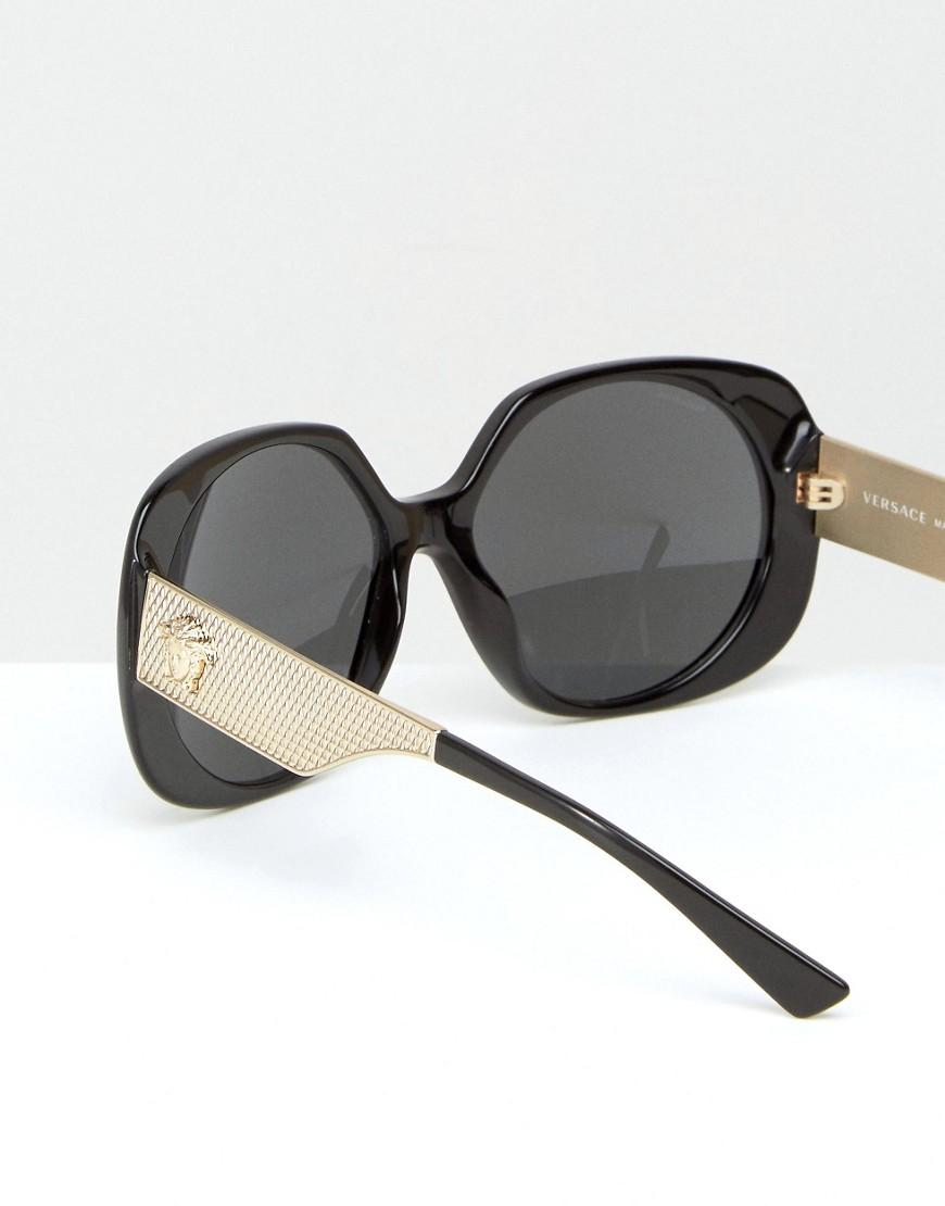 fb48ddde57b0 Versace Oversized Square Sunglasses With Gold Detail in Black - Lyst