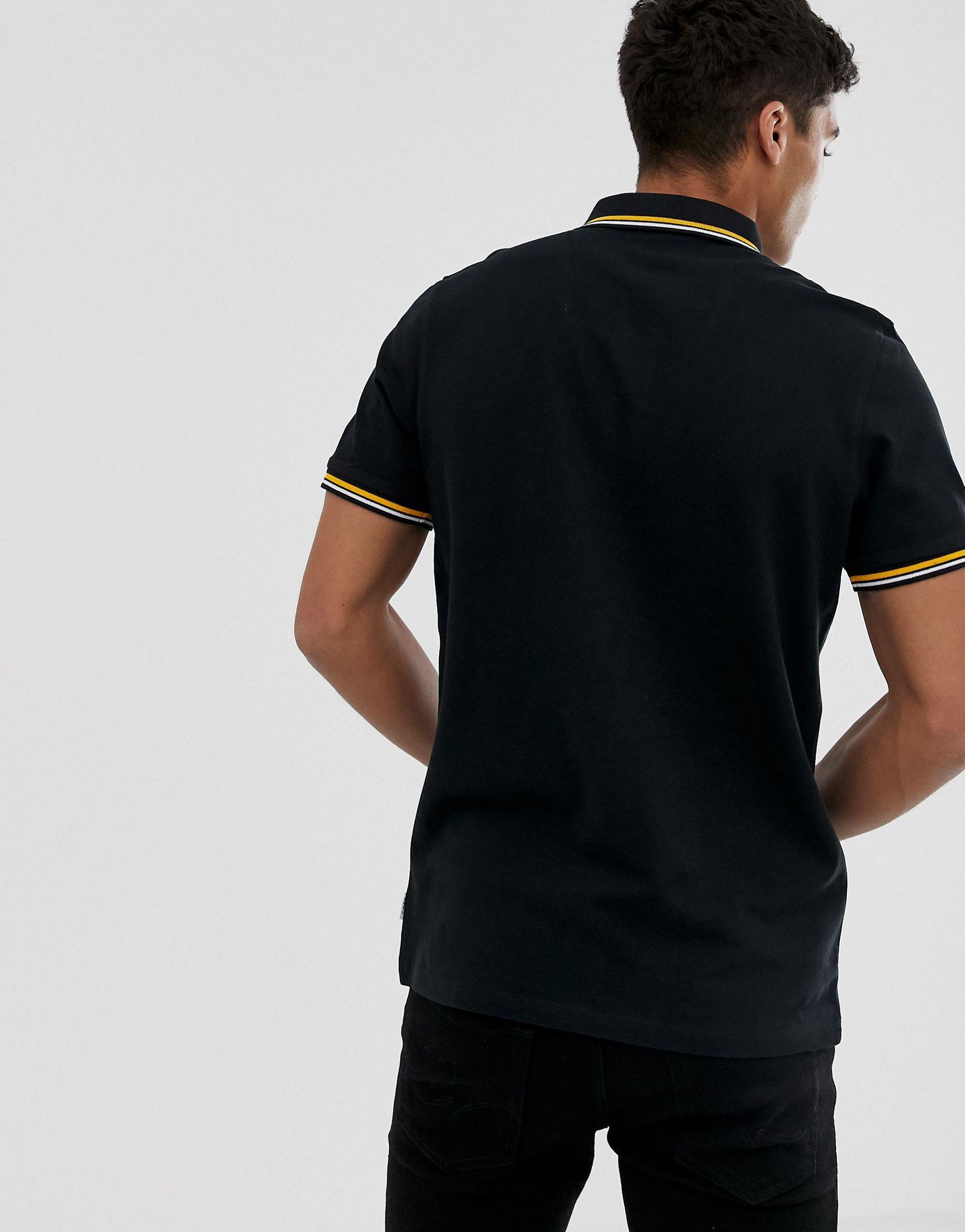 Jack & Jones Denim Core - Poloshirt Met Logo En Contrasterend Randje Aan in het Zwart voor heren