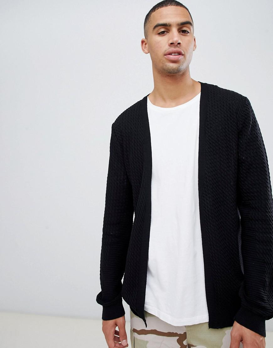 b8ede1dd444 Lyst - ASOS Cable Knit Cardigan With Rib Detail in Black for Men