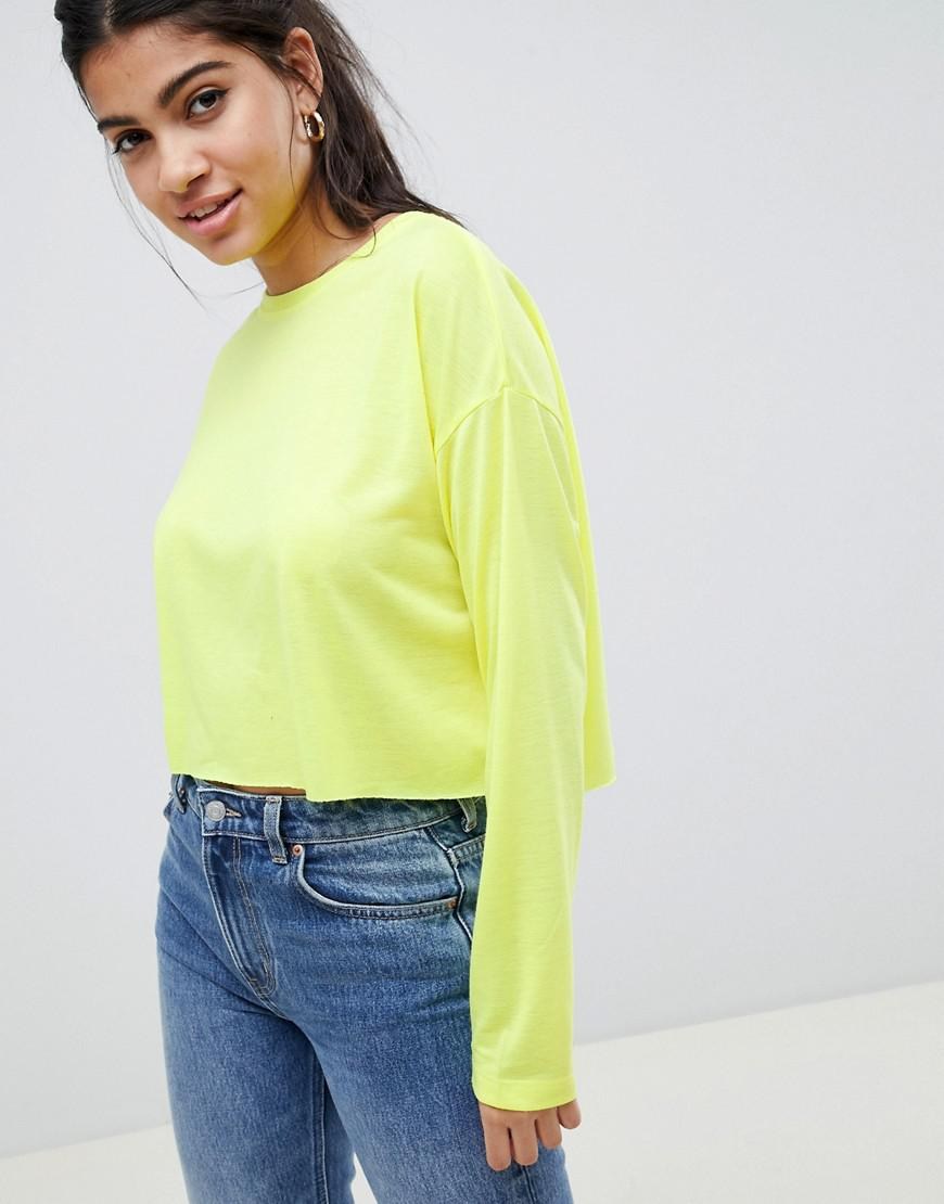 465556a68c3b ASOS Crop Boxy T-shirt With Long Sleeves In Neon in Yellow - Lyst