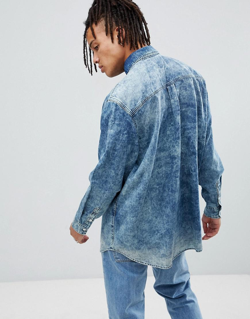 dddaecb6620 Lyst - Cheap Monday Acid Wash Denim Shirt in Blue for Men