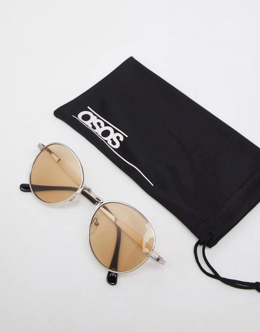 92d0352480d Lyst - ASOS Round Sunglasses In Silver Metal With Amber Lens in Metallic  for Men