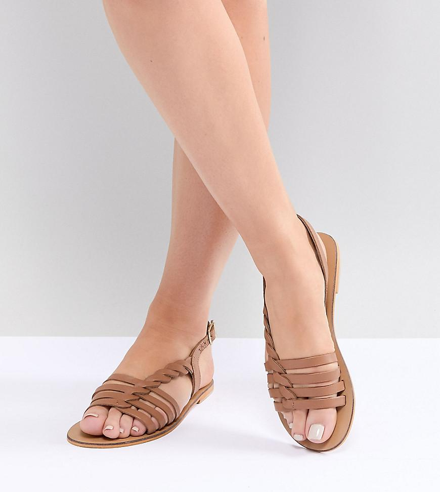 115aa0ec7f4 ASOS. Women s Brown Wide Fit Flattered Leather Plaited T-bar Flat Sandals