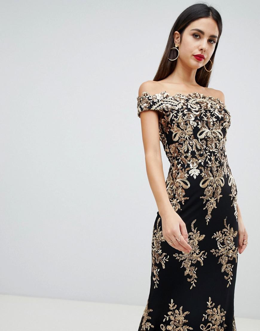 9f1943a9a1a Goddiva. Women s Blue Off Shoulder Bardot Placement Lace Maxi Dress In Black  ...