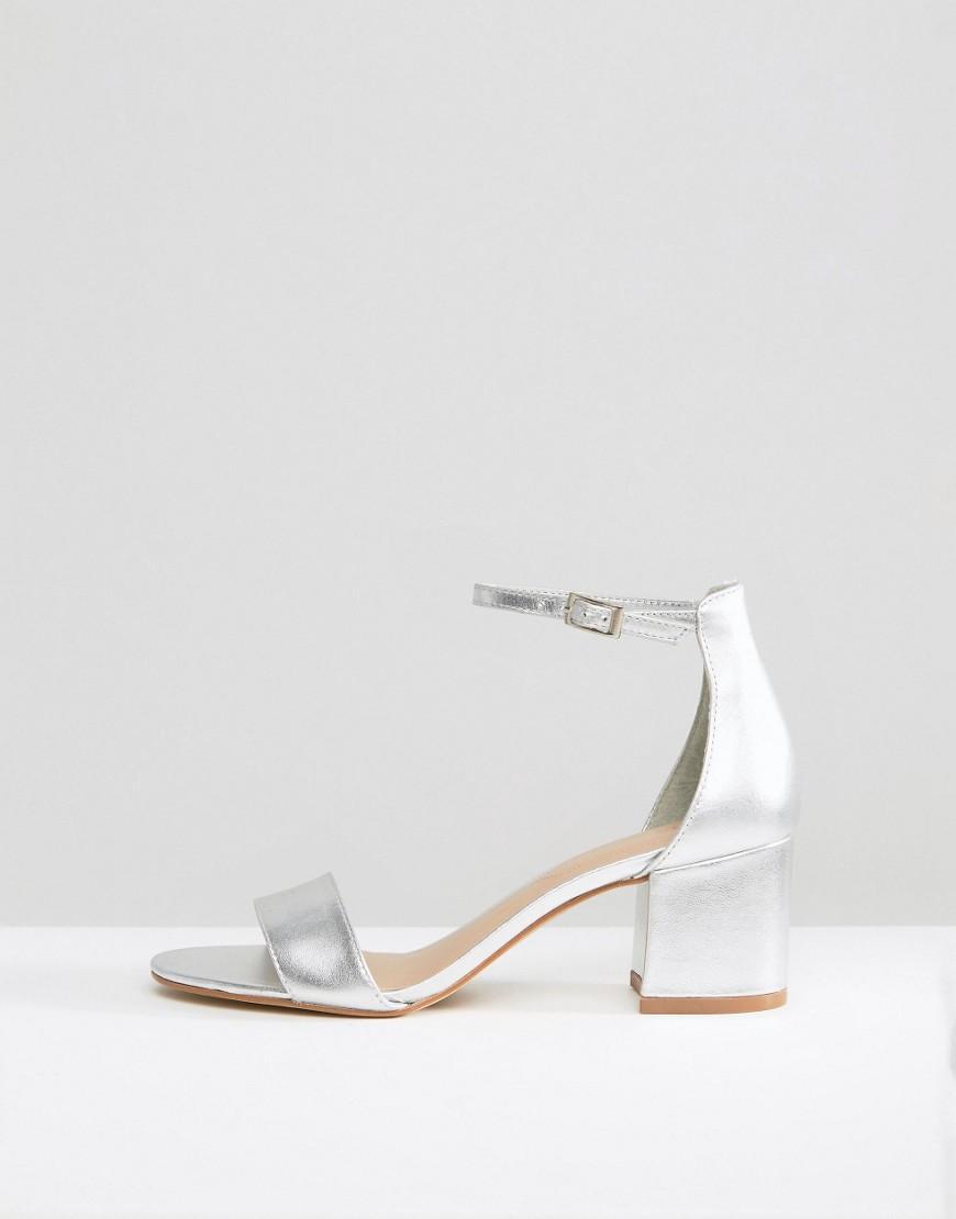 Lyst Aldo Villarosa Leather Block Heel Sandals In Metallic