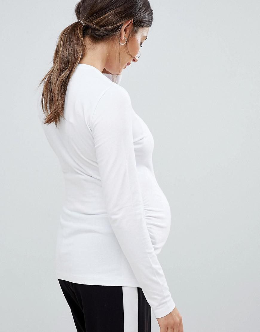 1da682af830bf Lyst - ASOS Asos Design Maternity Long Sleeve Crew Neck T-shirt With Bump Ruching  3 Pack Save in White