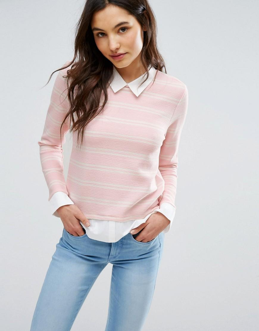 Lyst Only Shirt Detail Sweater In Pink