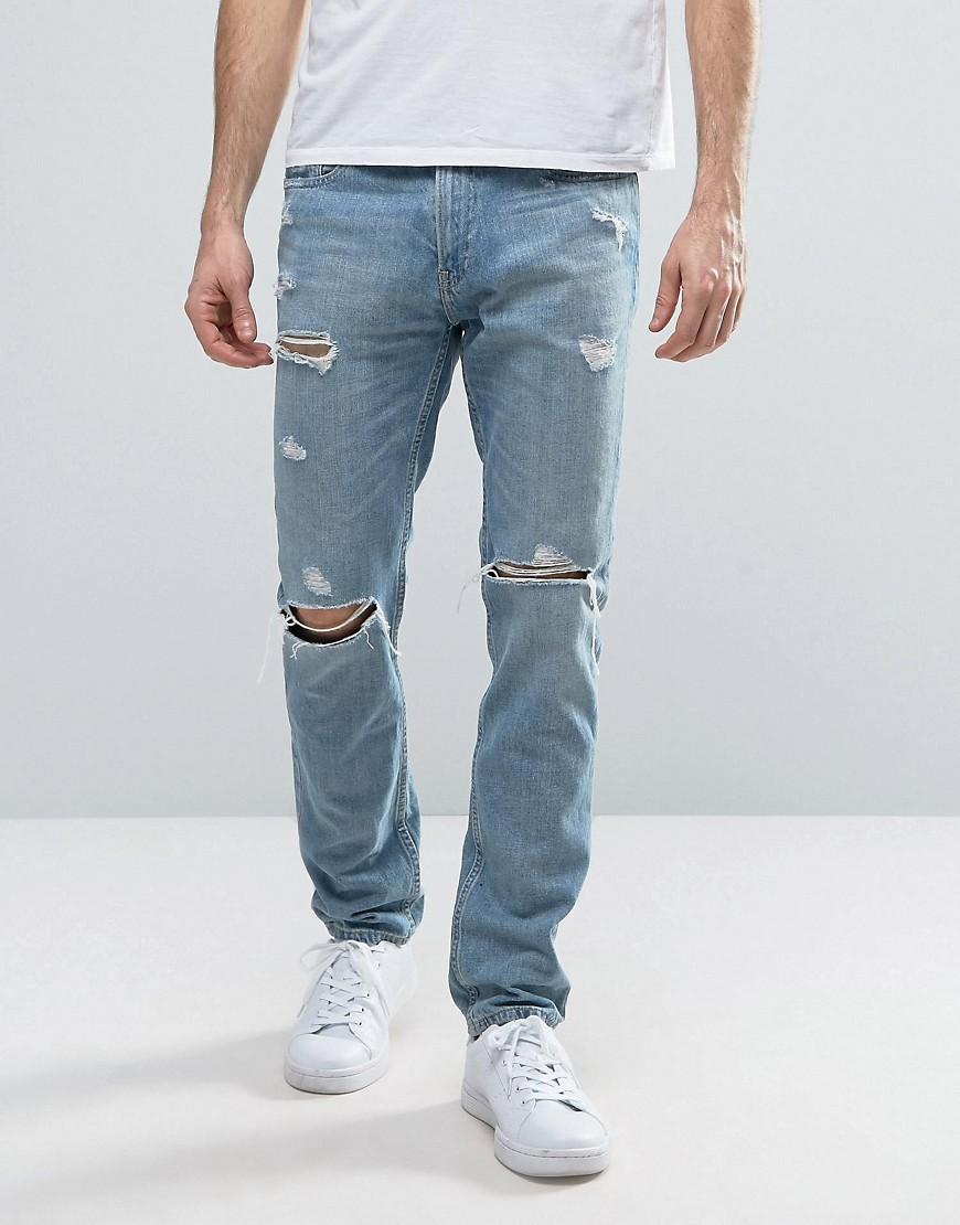 Hollister Destroyed Skinny Jeans Light Wash in Blue for ...