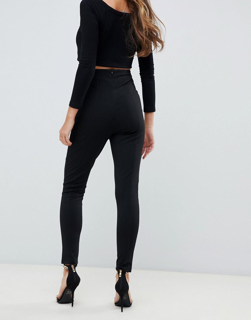 5fcc30cad6c85 Lyst - ASOS Skinny Trousers With Super High Waist in Black