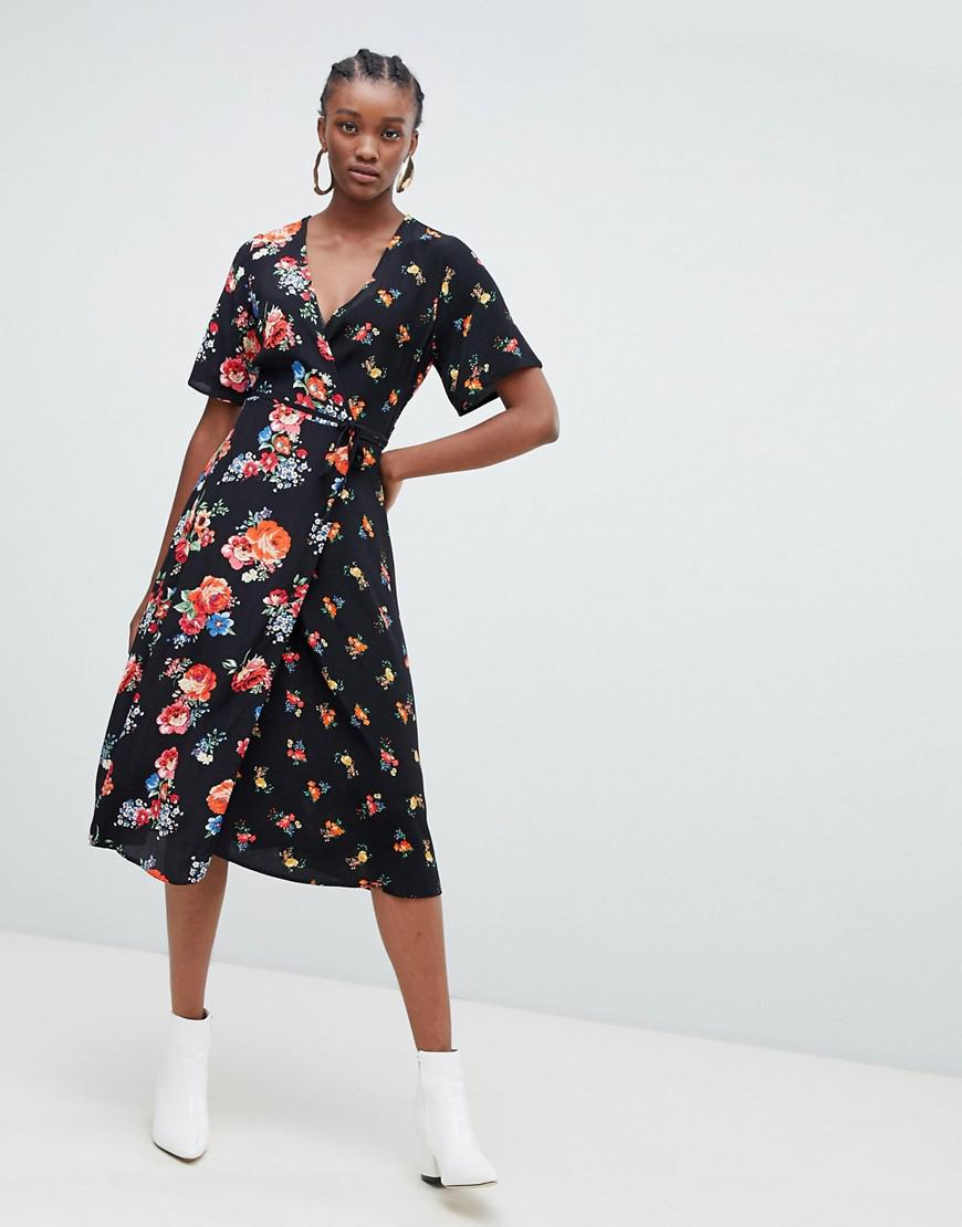 031457871a New Look Mixed Print Wrap Midi Dress in Black - Lyst