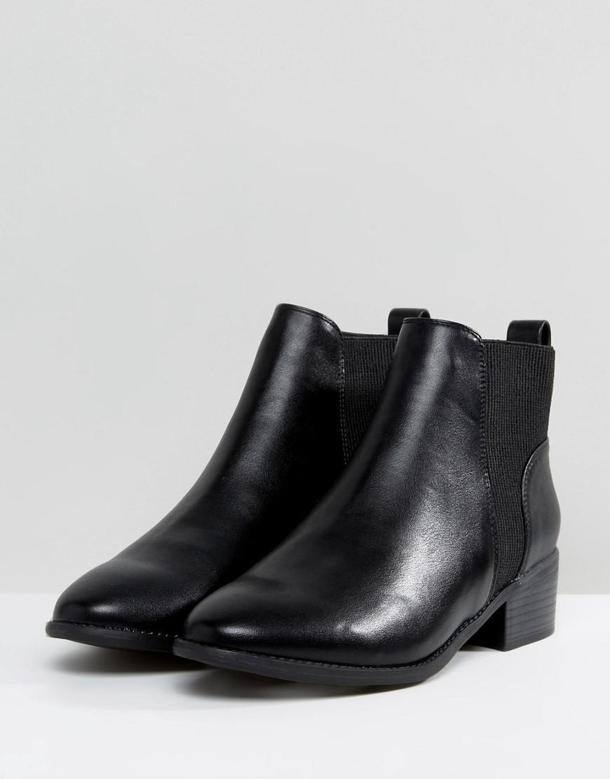 New Look Ribbed Flat Chelsea Boot in Black