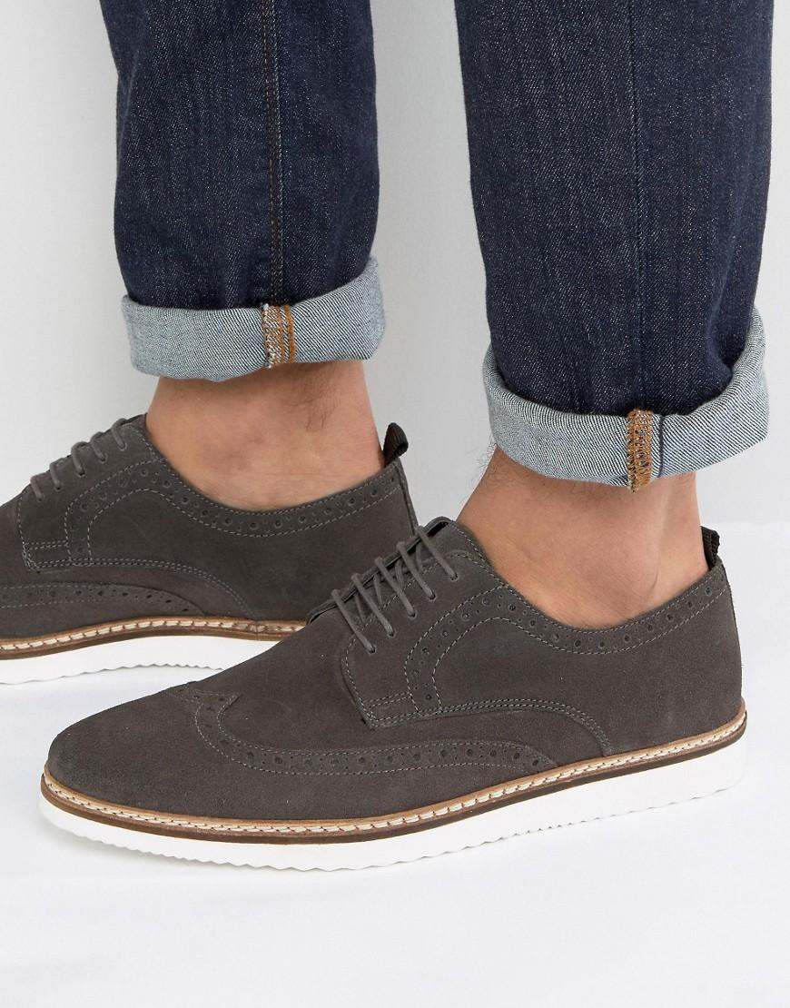 asos brogue shoes in gray suede with wedge sole in gray