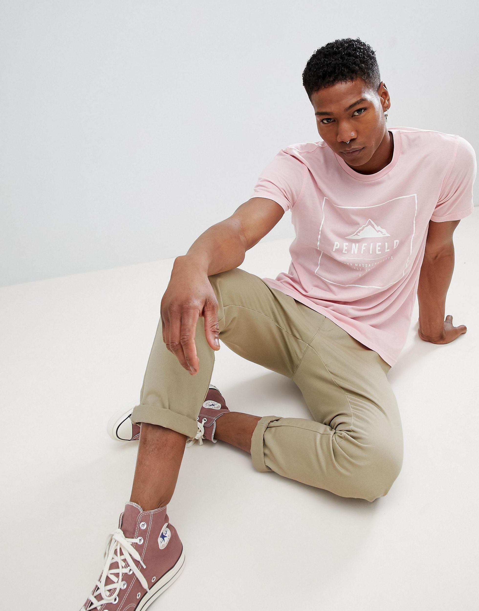 Penfield Alcala - T-shirt Met Rechthoekig Logo in het Roze voor heren
