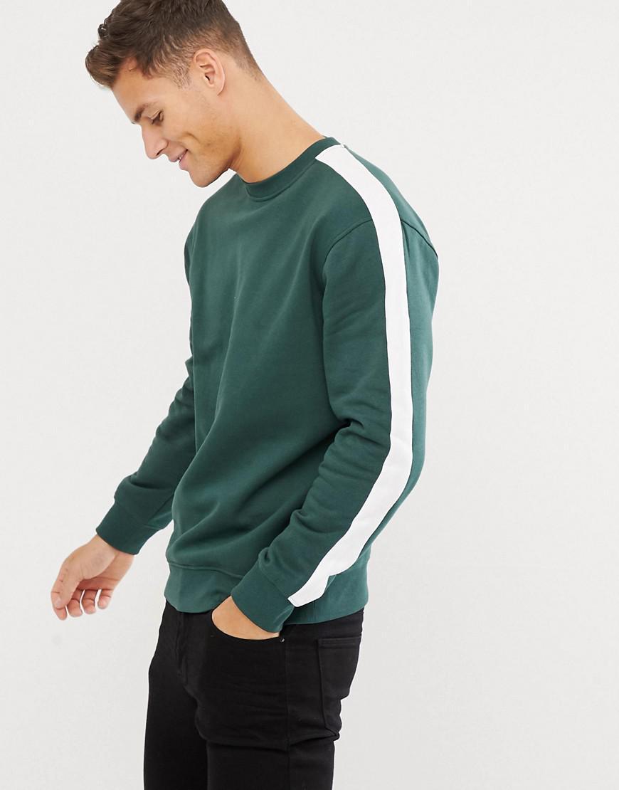 7b4fbd65466 Lyst - New Look Sweat With Side Stripe In Green in Green for Men