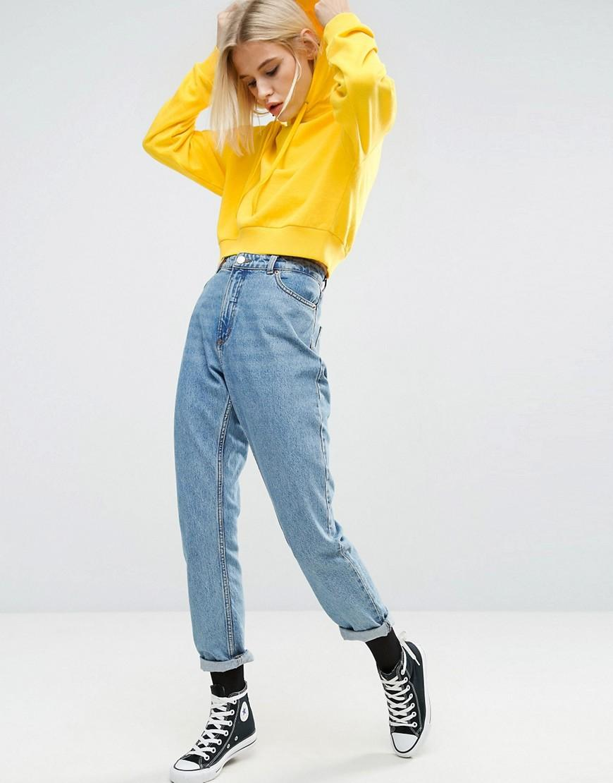 Asos Cotton Asos Cropped Pullover Hoodie In Yellow