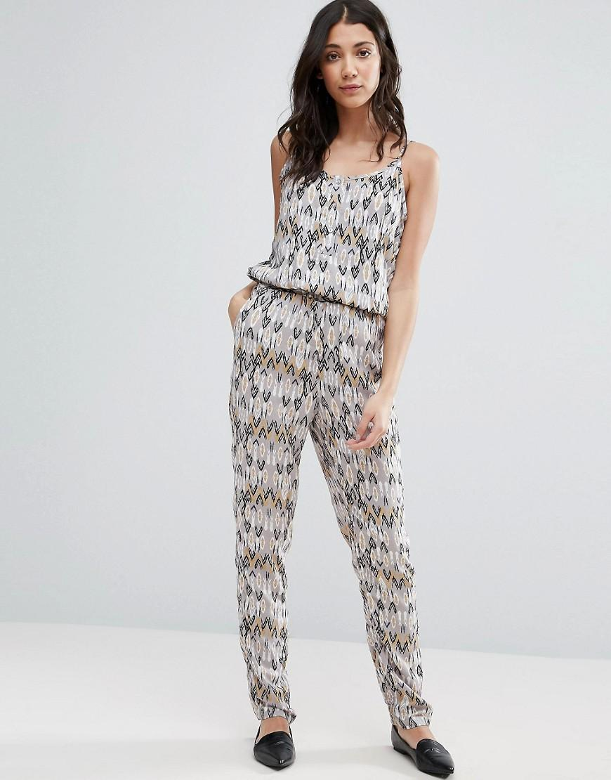 vero moda printed jumpsuit with elasticated waist lyst. Black Bedroom Furniture Sets. Home Design Ideas