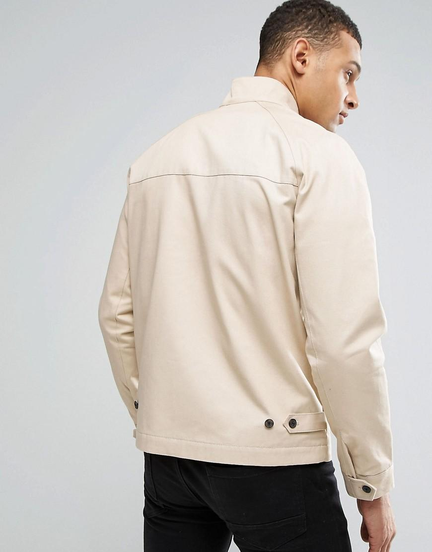 ASOS Cotton Harrington Jacket With Funnel Neck In Stone in Natural for Men