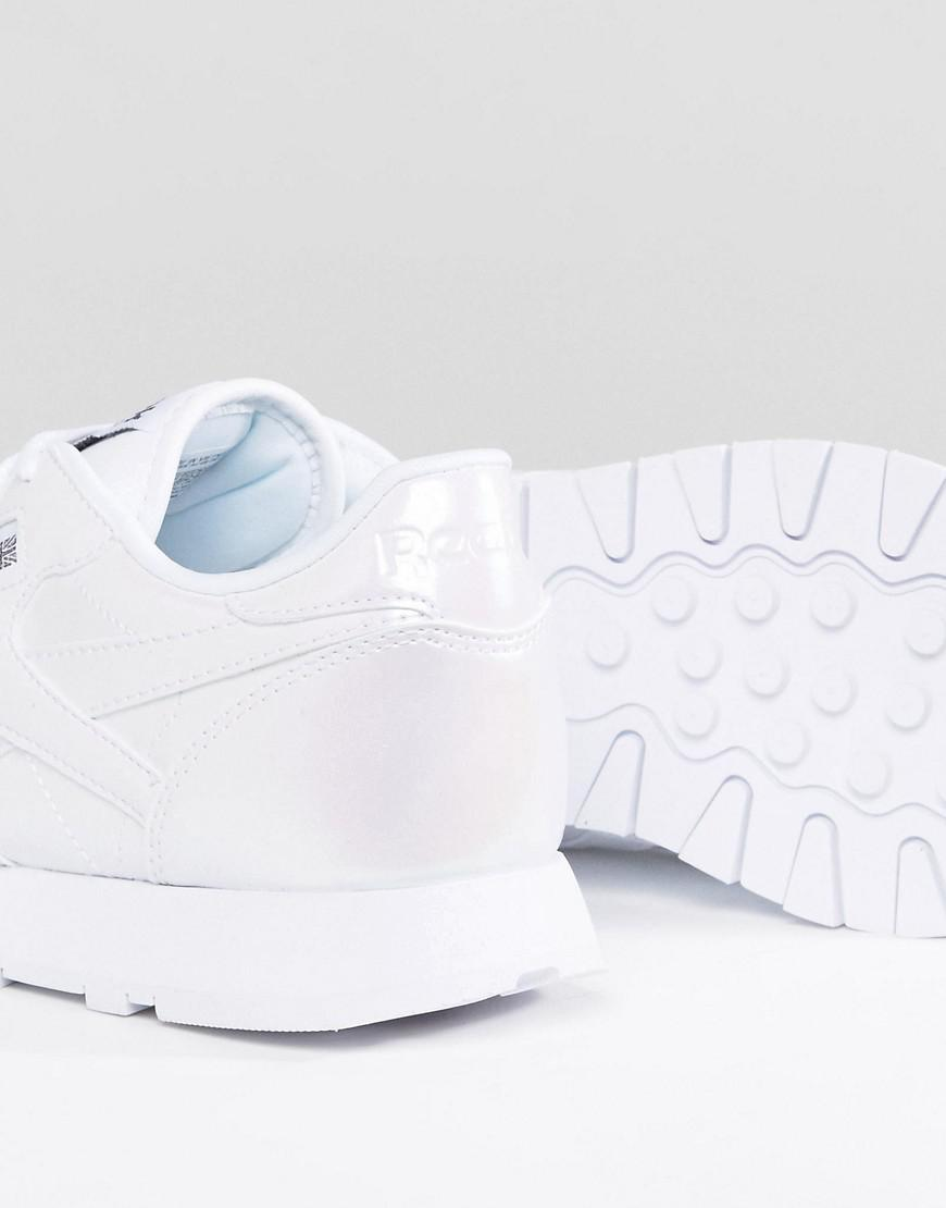 Reebok Leather Classic Patent Pearl Trainers In White