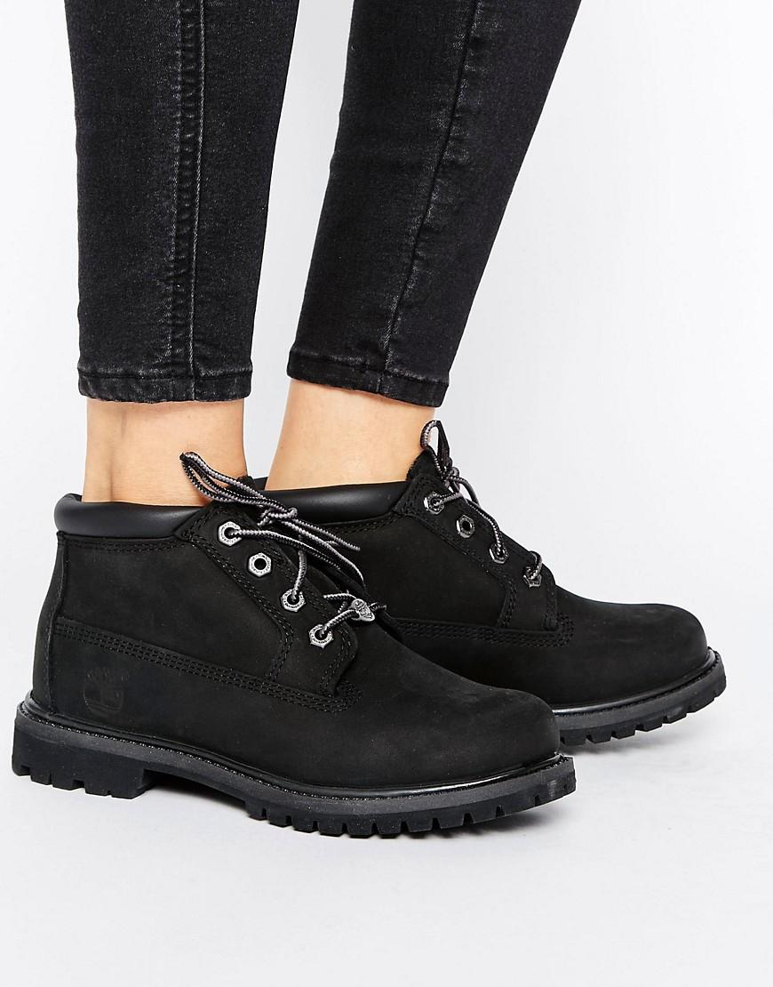 432875ac135 Timberland Nellie Chukka Double Black Lace Up Flat Boots
