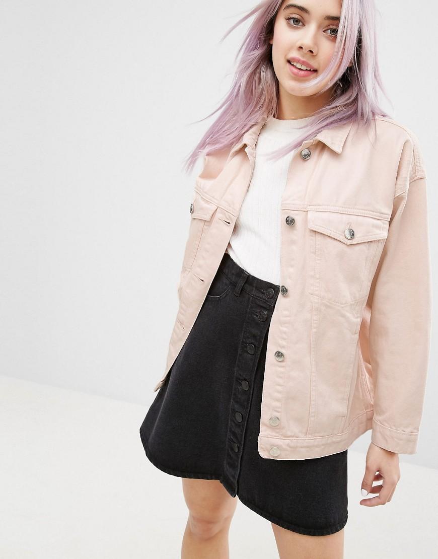 Monki Oversized Coloured Denim Jacket In Pink Lyst
