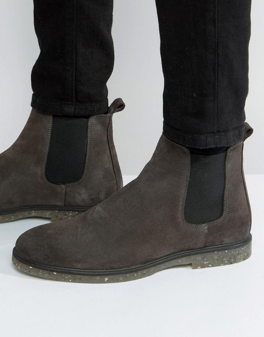 asos chelsea boots in grey suede with speckle sole in gray