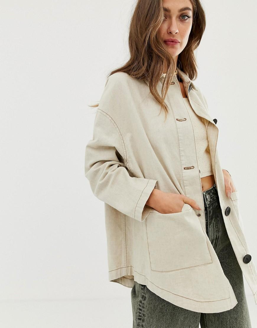 a41c9b73ebdce4 ASOS Linen Jacket With Contrast Stitch Detail in Natural - Lyst