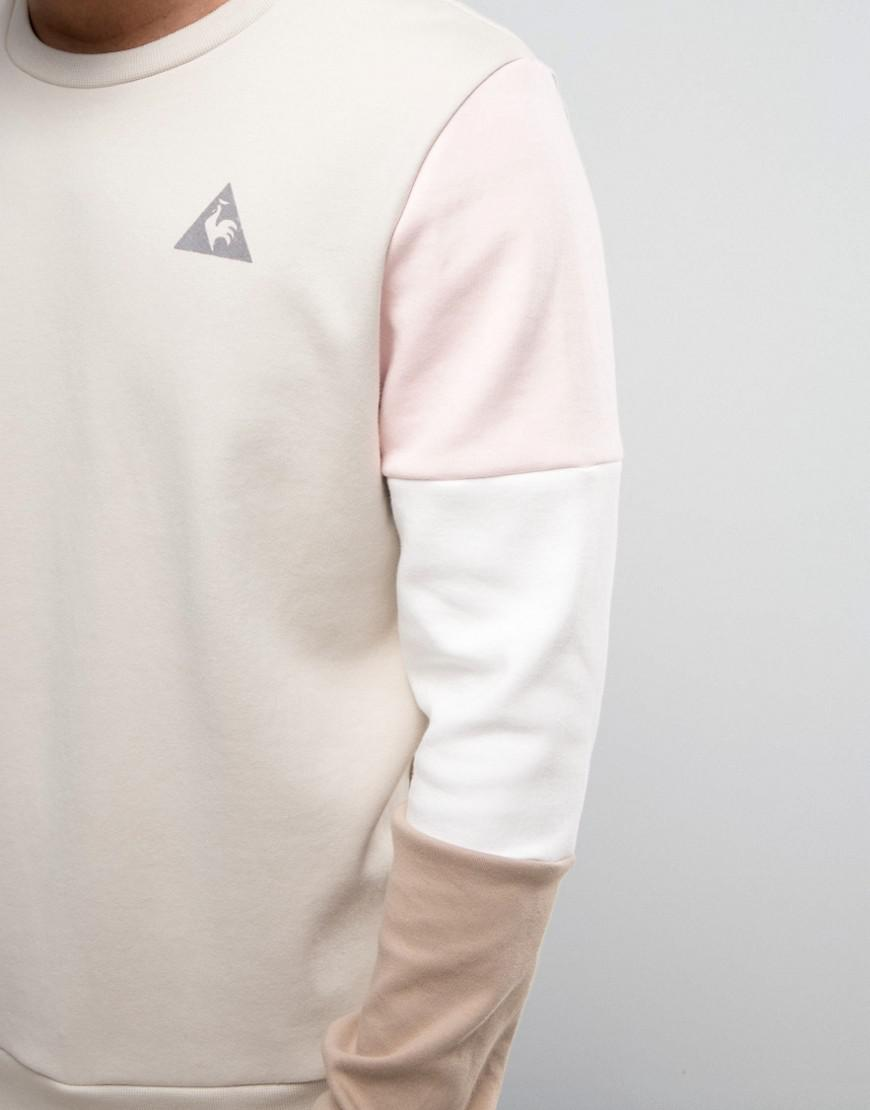 Le Coq Sportif Cotton Tricolor Sleeve Sweatshirt With Small Logo In Beige 1711064 in Natural for Men