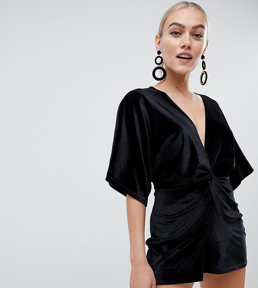 97824cf34d8 Lyst - Boohoo Exclusive Petite Kimono Sleeve Velvet Playsuit In ...