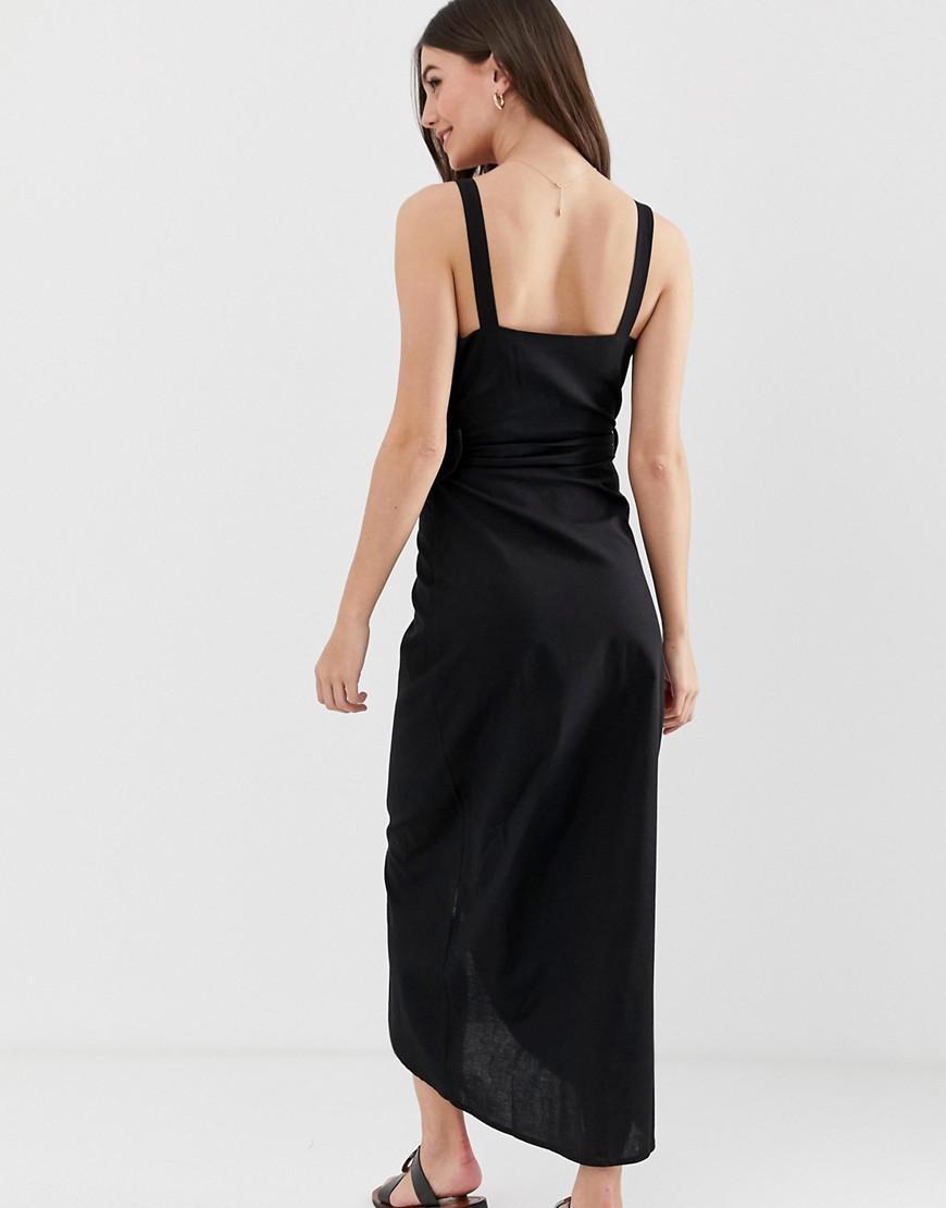 0eb5b00248ac ASOS Asos Design Tall Wrap Maxi Dress With Buckle Belt in Black - Lyst