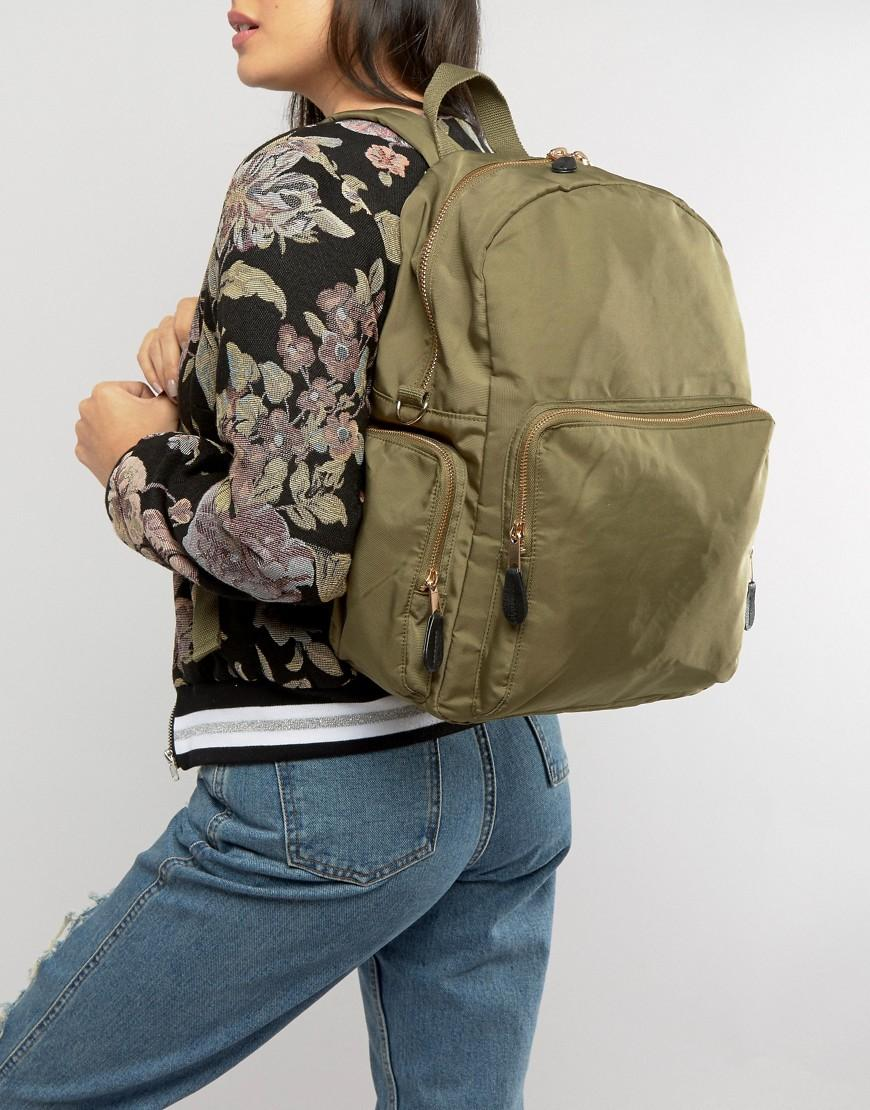Monki Synthetic Pocket Utility Backpack in Green