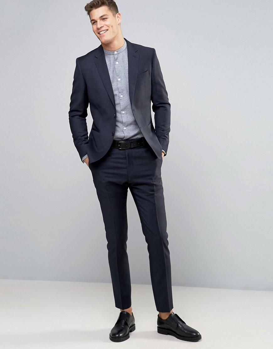 Reiss Wool Slim Suit Jacket In Gingham Check in Navy (Blue) for Men