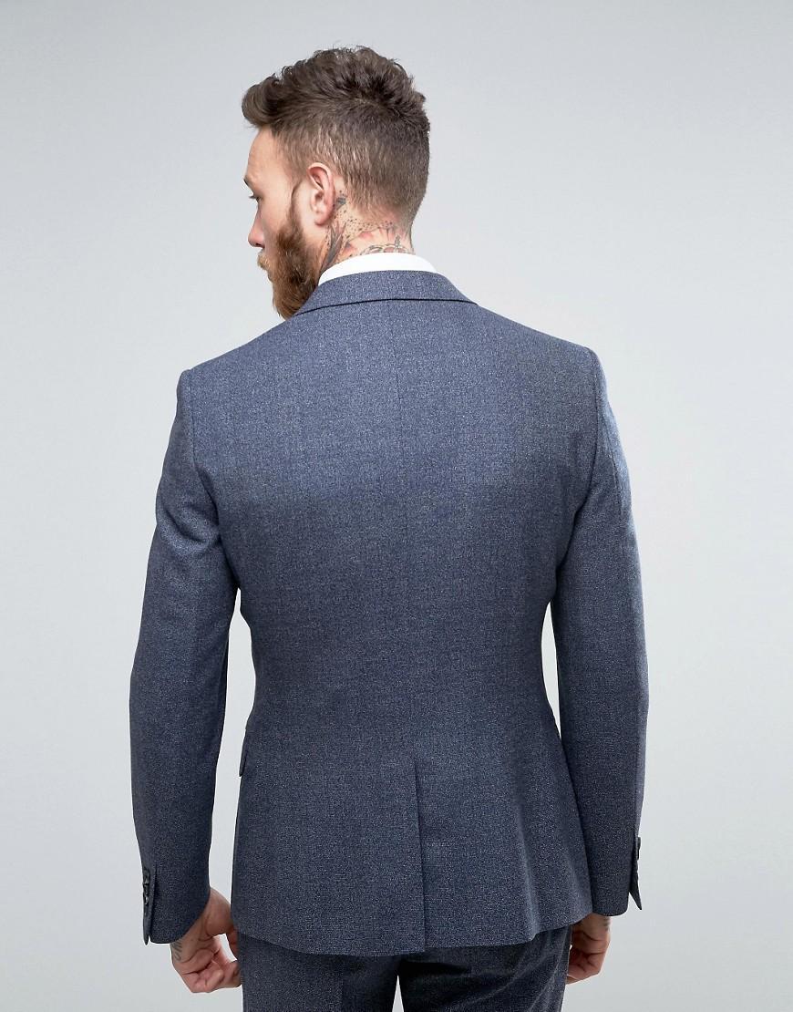 Reiss Wool Slim Suit Jacket In Salt N Pepper in Navy (Blue) for Men