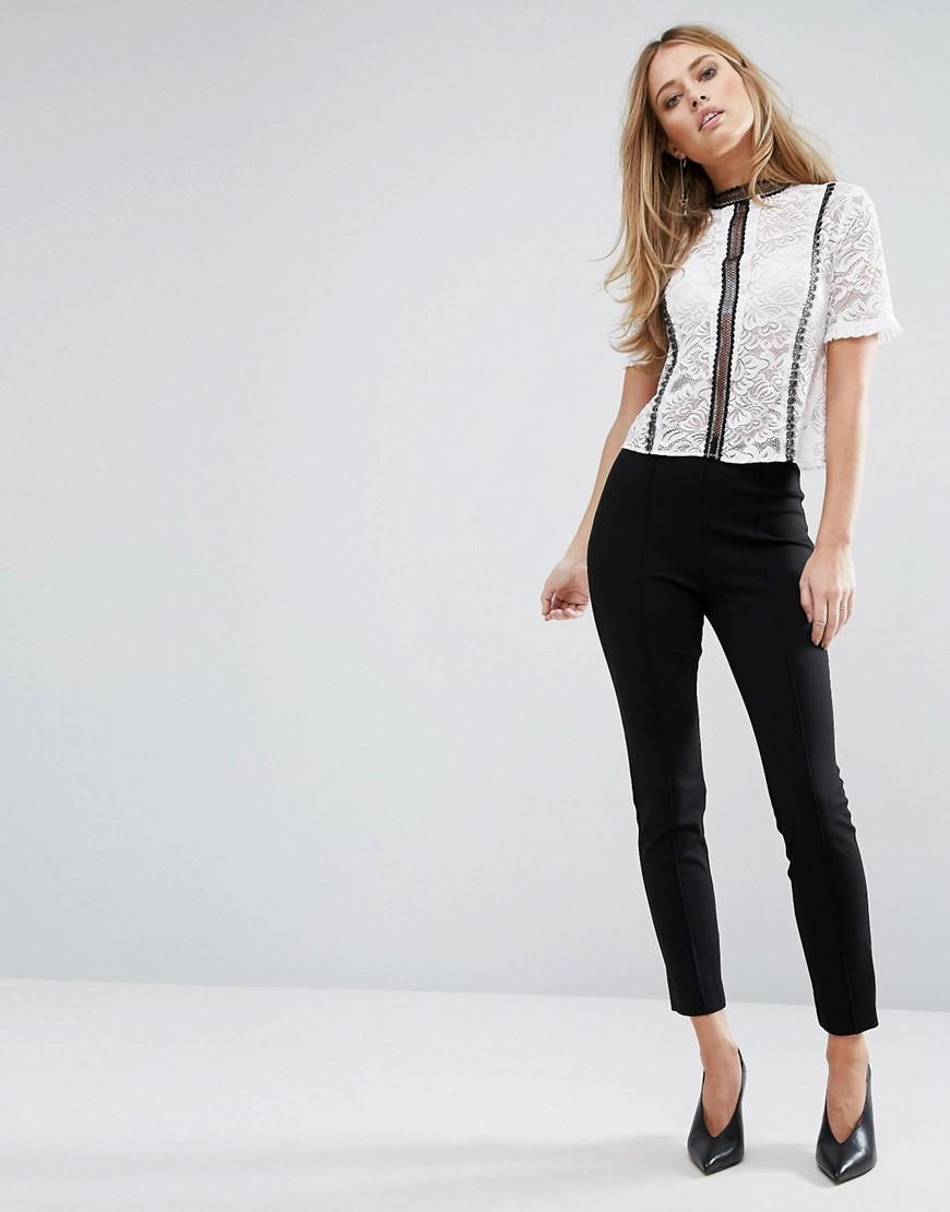 Warehouse Ponte Flared Pant in Black