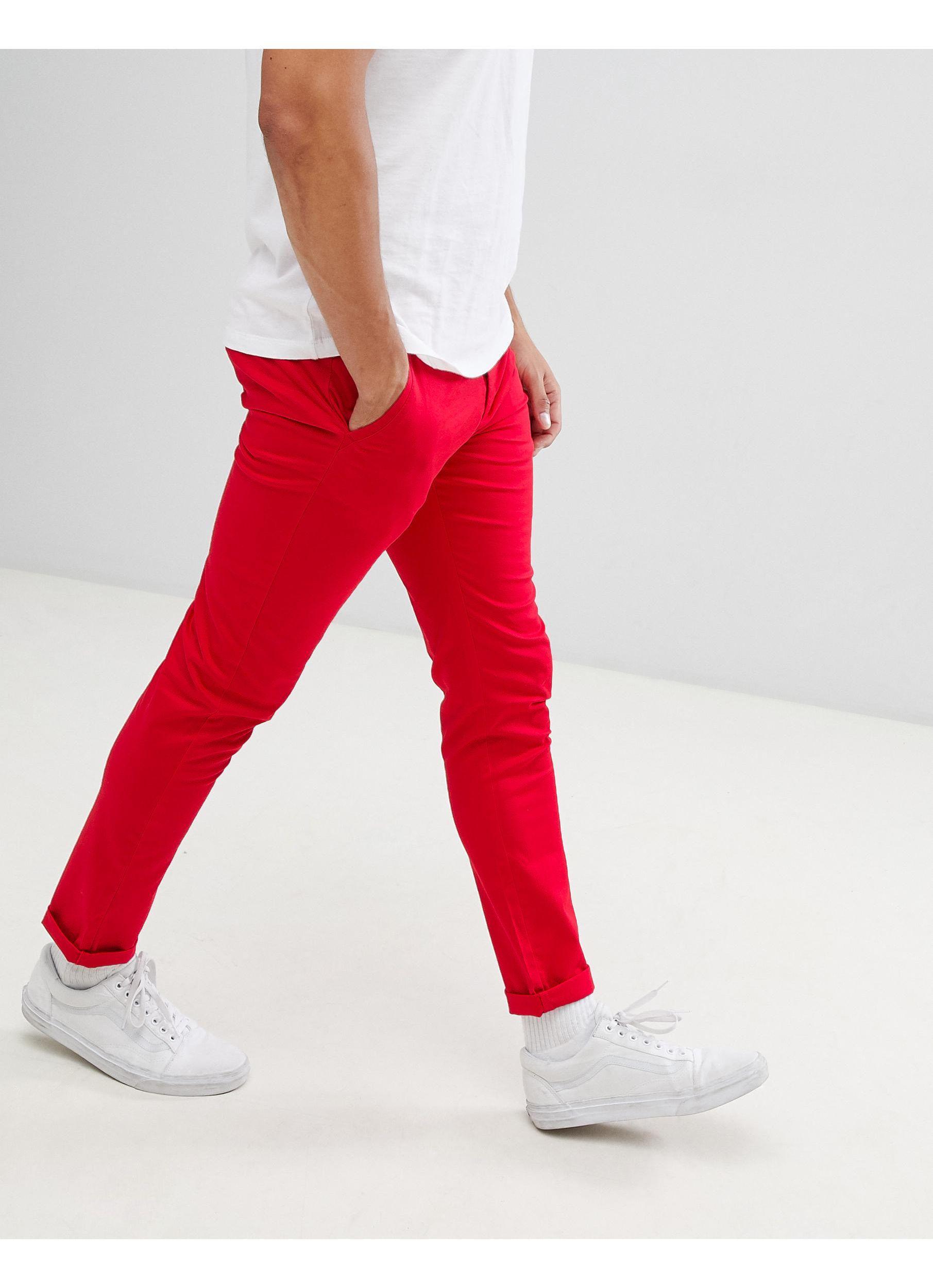 ASOS Katoen Skinny Chino in het Rood voor heren