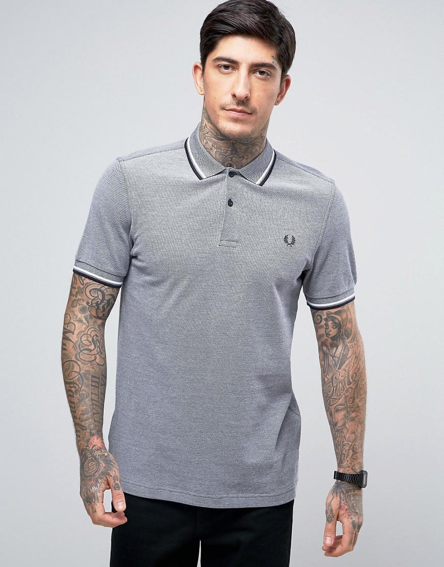 fred perry slim pique polo shirt twin tipped in gray. Black Bedroom Furniture Sets. Home Design Ideas