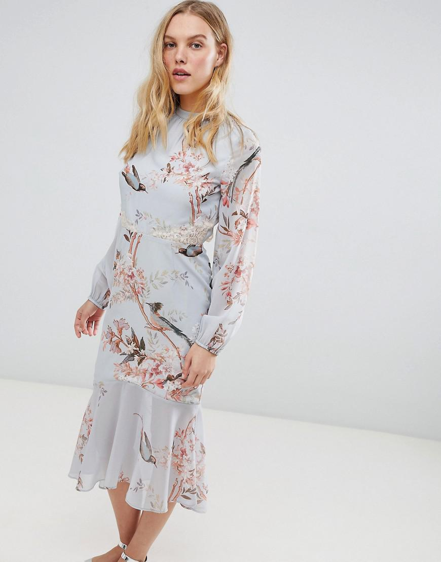 e8fef4ae66299 Hope and Ivy Hope & Ivy Long Sleeve Open Back Printed Midi Dress ...