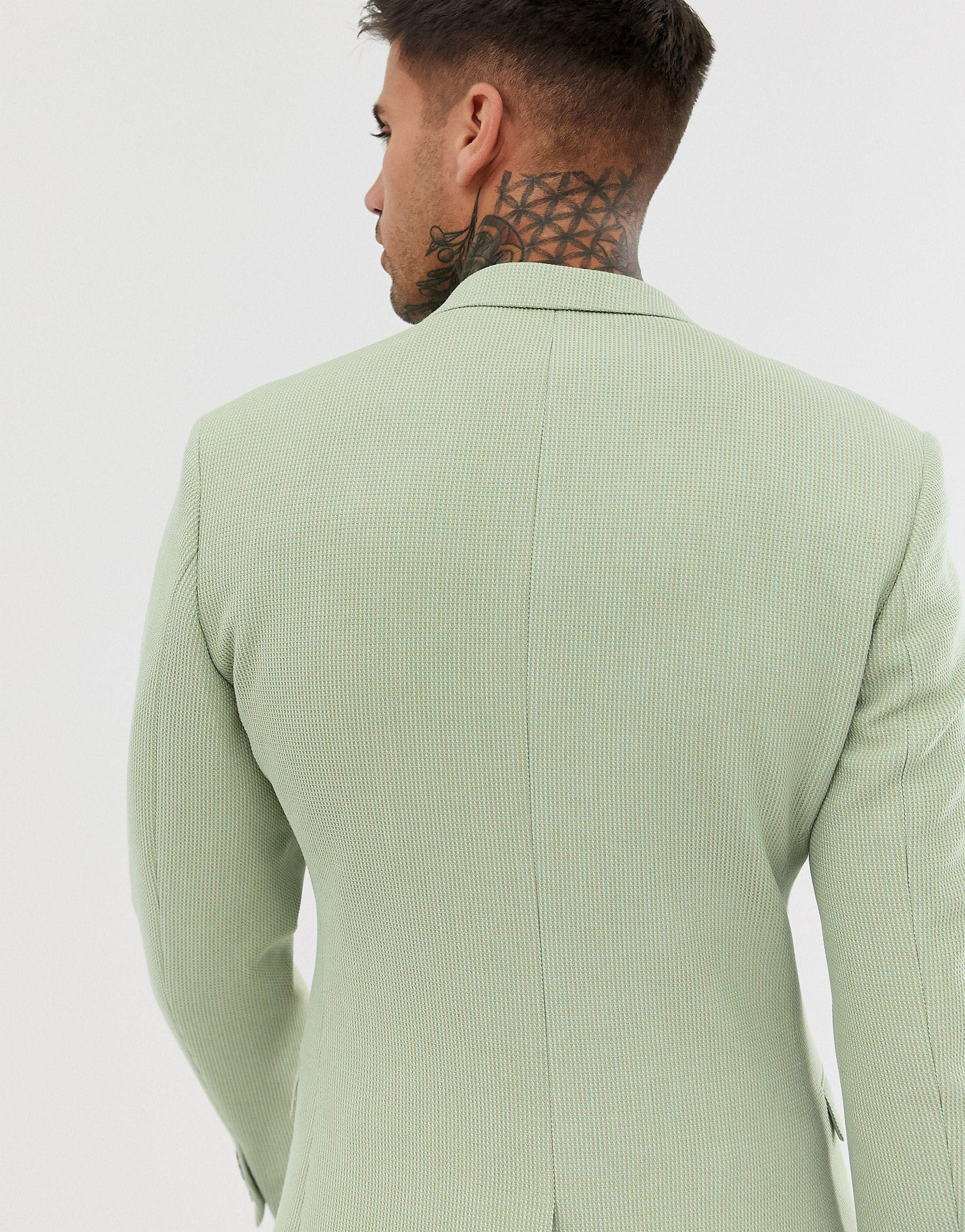 ASOS Synthetisch Superskinny Blazer Met Waffeltextuur in het Groen voor heren