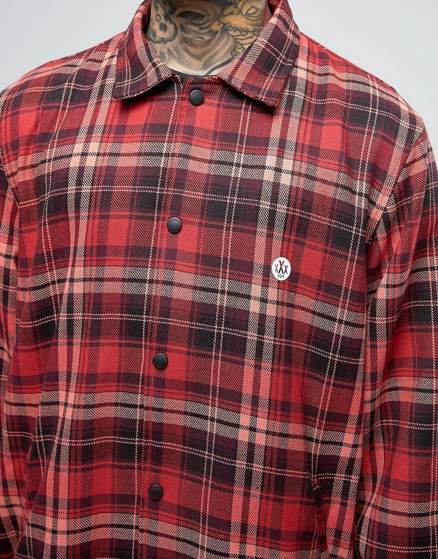10.deep Flannel Long Coach Jacket With Back Print in Red for Men